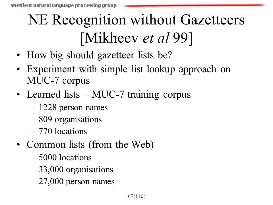 NE Recognition without Gazetteers [Mikheev et al 99]